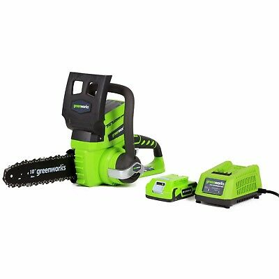 Cordless Chainsaw Greenworks Wireless Battery Operated 10-Inch 24V Lithium-Ion