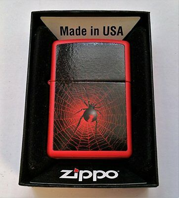 Zippo Lighter Gothic Scary Parlor Spider Red Matte Finish 2012 New in Box