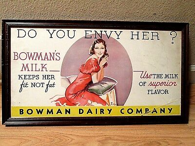 VINTAGE BOWMAN DAIRY COMPANY Framed Ad KEEPS HER FIT NOT FAT 1940's ARTWORK RARE