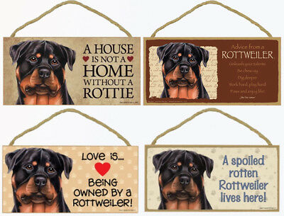 "Rottweiler Dog Sign Plaque 10""x5"" House not Home, Spoiled Lives Here Love Advice"