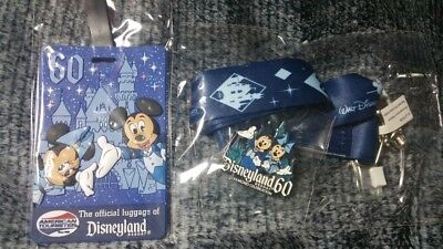 Disneyland Resort 60th Anniversary Celebration Pin, Lanyard, & Luggage Tag