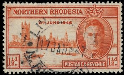 """NORTHERN RHODESIA - SG46a 1 1/2d VICToRY perf 13 1/2 - """"LIVINGSTONE"""" 1947 CDS"""