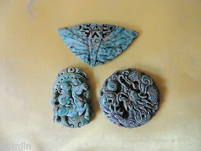 5. Vintage Green Stone for Necklace 3pcs/set with Dragon, Horse and Butterfly