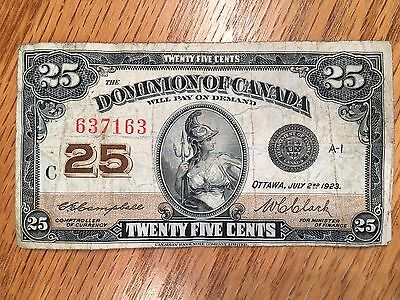 1923 Dominion of Canada Twenty Five Cents 25c Note #163