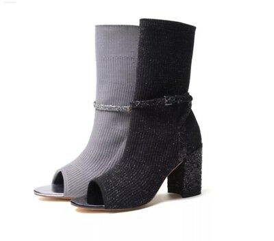 5efd7144bf77 Sparkle Knit Sock Ankle Boots Sequin Block Heels Black Grey Open Toe Strap  Shoes