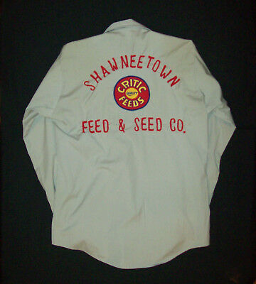 Old vtg 1960s Shawneetown Feed Seed Co Embroidered Mans Work Shirt Chain Stitch