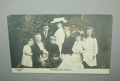 Old antique vtg 1903 Post Card Real Photo President Roosevelt and Family Nice