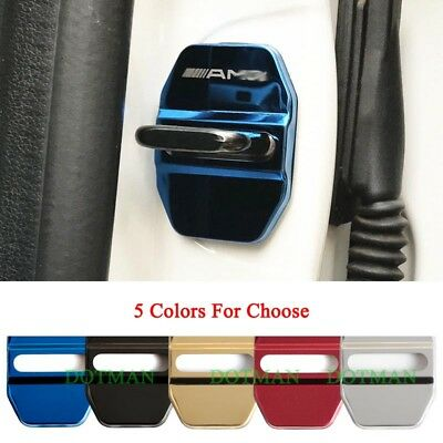 4x Stainless Door Lock Protective Cover Stickes For Benz AMG C E S GLK CLA GLA