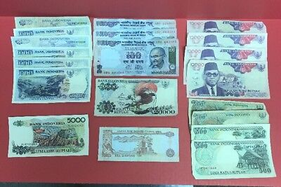 Indonesian Currancy Mixed Lot Over 63,000 Ruphiah 20 Bills In Circulated Cond.
