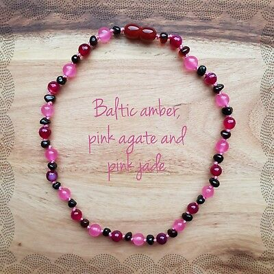 Baby child My princess knotted gemstone necklace Baltic amber jade pink agate