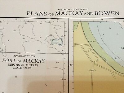Genuine 70s Vintage Nautical Chart Plans of Mackay and Bowen Australia