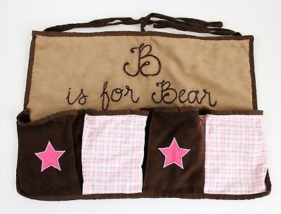 """Baby Room Hanging Organizer """"B Is For Bear' Brown And Pink"""