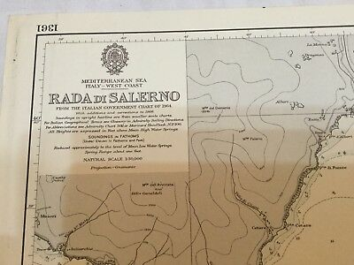 Genuine 60s Vintage Nautical Chart Rada Di Salerno Italy West Coast