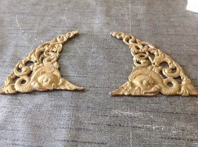 ANTIQUE SPANDRELS LONGCASE GRANDFATHER BRACKET CLOCK PAIR CAST BRASS 135x95mm
