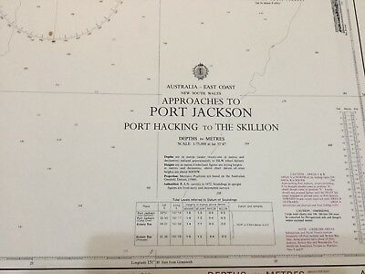 Genuine 70s Vintage Nautical Chart Approaches to Port Jackson