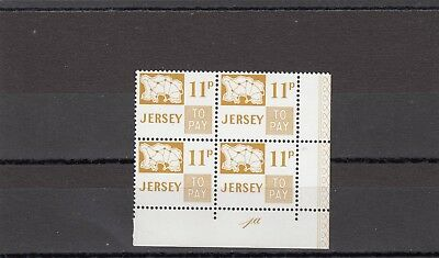 a140 - JERSEY - SGD17 MNH 1971 11p POSTAGE DUE - BLOCK OF 4 W/CONTROL # 1a
