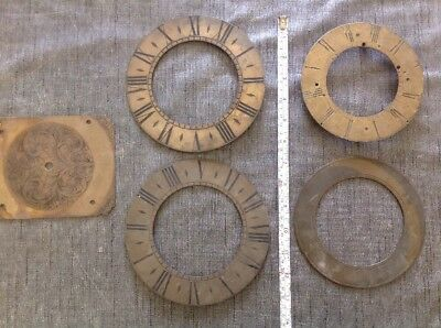 Antique Clock Dials Faces Brass Collection Spare Parts Ex Clockmaker