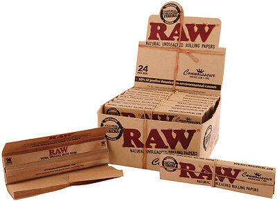 Raw Connoisseur Natural Unrefined Hemp King Size Rolling Papers + Tips Box of 24