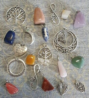 Bulk Lot 10 Assorted Gemstones And 10 Silver Tone Tree Love Charms Pendants