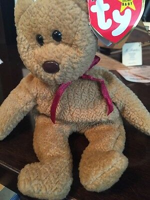 Ty Beanie Baby- CURLY the Brown Nappy Bear