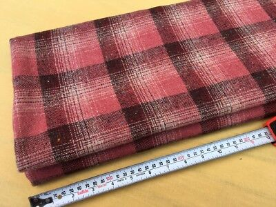 Gorgeous Vintage Pink & Dark Red Woven Check Wool Blend Fabric 138cm x 2m
