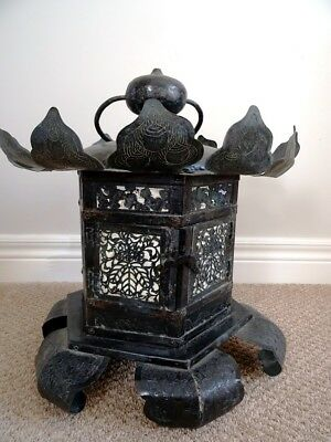Japanese SHINTO lantern TORO SHRINE SHOJI PAPER Yoraku TEMPLE Buddhist VNTG ANTQ