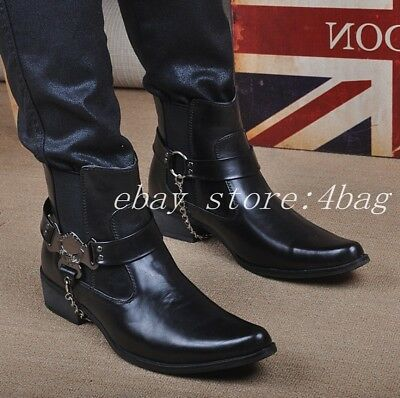 New Pointy Toe Ankle Boots High Top Knight Chelsea Mens High Top Shoes Clubwear