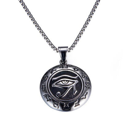 The Eye of Horus Silver Symbol 316L Stainless Steel Round Pendant Men's Necklace