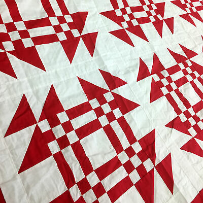 Traditional Graphic Red & White Young Man's Fancy - QUILT TOP