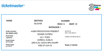 "Roger Waters ""Us & Them Tour"" Ticket Dublin 27/06/18"