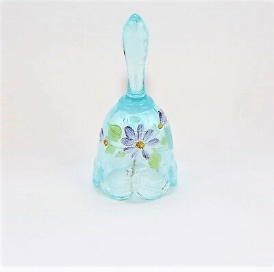 """Fenton 4 1/4"""" Bell Hand-Painted with Daisies - Turquoise"""