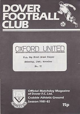 Dover v Oxford United FA Cup Football Programme 1981/82