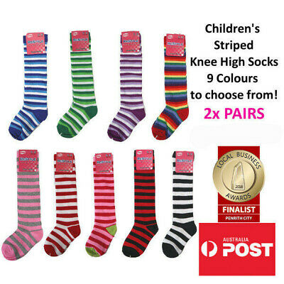 Children's Colourful Striped Knee High Socks Kids Knee Socks 2x PAIRS FOR $10.00