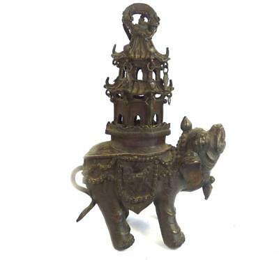 Antique Chinese Qing Bronze Elephant & Pagoda Incense Burner