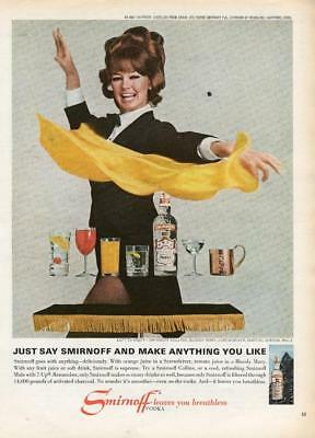 "1960's Smirnoff Vodka Print Ad Woman Magician ""smirnoff Leaves You Breathless"""