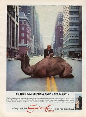 "Smirnoff Vodka Print Ad Man And Camel In The City Scene ""leaves You Breathless"""