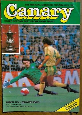 Norwich City  V  Doncaster Rovers 1981-82