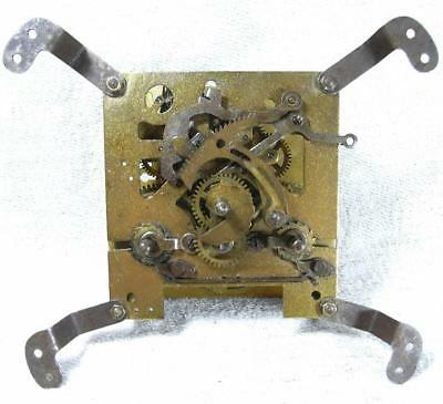 "WORKING ORDER VINTAGE/ANTIQUE 4"" (550g) BRASS UNBRANDED CHIMING CLOCK MOVEMENT"