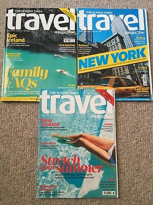 Three issues of the Sunday Times Travel magazine