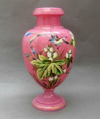 19thC Pink Opaline Glass Vase ~ Bird & Floral Enamel ~ 27cm ~ Cased / Antique