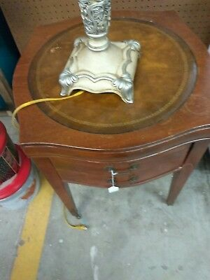Antique Wood Side Table Round U0026 Leather Top