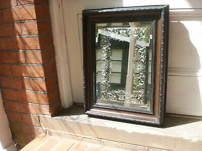 Old Antique Victorian Wall Bevelled Etched Wall Mirror Brown Gesso Frame c.1880