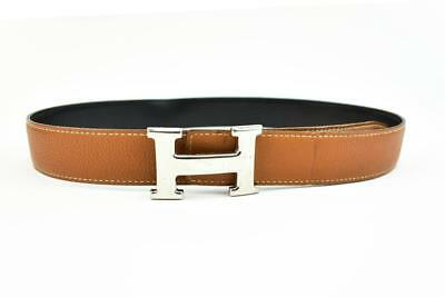 "Authentic HERMES: Brown/Black Reversible Leather & ""H"" Logo Belt (fits 28""- 30"")"