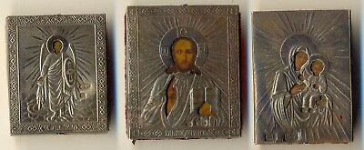 Russian  Imperial Antique travel  Icons (3) sterling silver   (#1052a)