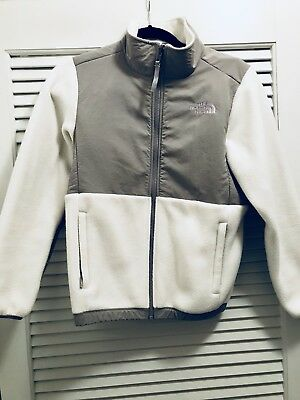 The North Face Youth Denali Fleece Jacket: Large(14-16) White/Gray.