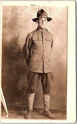 1918-30 RPPC Photo Postcard Doughboy Studio Uniform US Army Military Post WW1