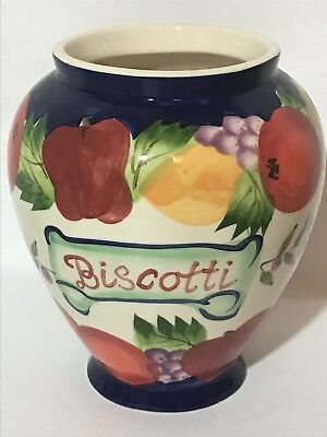 Vintage Nonni's Biscotti Cookie Jar With Rubber Seal Lid