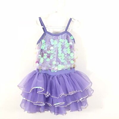 Weissman Small Dance Tutu Dress Purple Holo Sequins Spandex Stretch Tulle Skirt