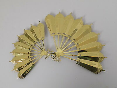 "Set Of 2 Home Interiors Gold Metal Fan Wall Hanging Plaques -13"" X 9"" & 10"" X 7"""