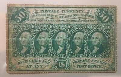First Issue 1862-1863 50 fifty cents Postage currency perforated edges FR 1311